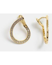 ASOS Premium Gold Plated Earrings In Loop Design With Swarovski Crystals - Metallic
