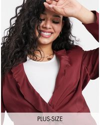 Simply Be Frill Blazer - Red