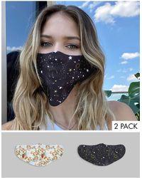 ASOS – Gesichtsmasken mit Engels- und Mystik-Motiv im 2er-Pack - Mehrfarbig