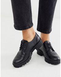 London Rebel Grosses chaussures richelieu à lacets - Noir