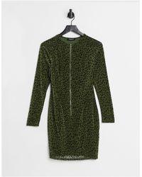 Naanaa Shape Zip Front Bodycon Dress - Green