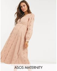 ASOS Asos Design Maternity Broderie Button Through Midi Tea Dress - Pink