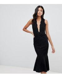 fb92f70fd John Zack Allover Lace Midi Dress With Peplum Hem In Black