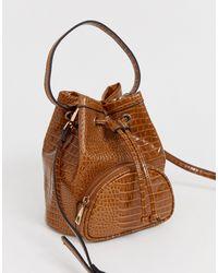 ASOS Mini Croc Bucket Bag - Brown