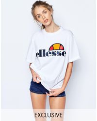 Ellesse T-shirt oversize stile boyfriend con logo sul davanti - Bianco