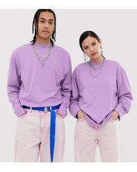 Collusion Unisex Long-sleeve T-shirt In Lilac - Purple