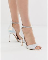 e526f885637 Head Over Heels Minndy Sequin Irridescent Metallic Two Part Heeled Sandals  - Multicolour