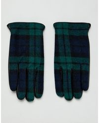 ASOS – Touchscreen-Handschuhe aus schwarzem Leder mit Karomuster
