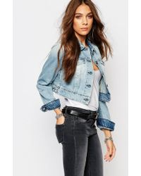 Replay - Cropped Fitted Denim Jacket - Lyst