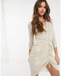Ivyrevel Long Sleeve Midi Glitter Dress - Natural