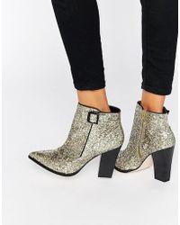 Little Mistress - Harlow Glitter Heeled Ankle Boots - Lyst