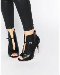 Little Mistress - Garbo Peep Toe Heeled Ankle Boots - Lyst