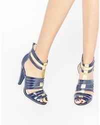 Little Mistress Fleur Multi Strap Heeled Shoes - Blue