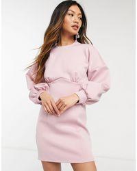 River Island Vestito corto fasciante rosa con maniche a palloncino e cucitura sotto il busto