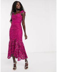 Chi Chi London Lace Midi Fishtail Dress - Multicolor
