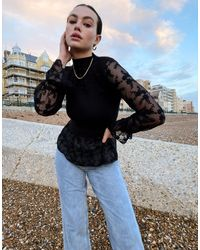 River Island Lace Sleeved Bodyfit Knit Top - Black