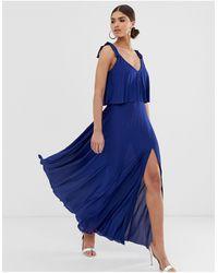 ASOS Vestito lungo a pieghe con to corto e laccetti sulle spalle - Blu