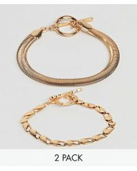 ASOS - Pack Of 2 Bracelets With Heavyweight Chain And Flat Rope Chain Gold - Lyst