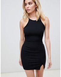 PrettyLittleThing - Basic High Neck Bodycon Dress - Lyst