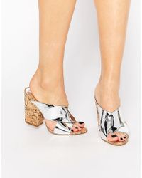 Glamorous Cork Mule Heeled Sandals - Silver - Metallic