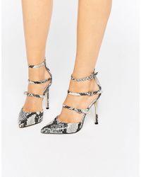 Faith Triple Strap Heeled Shoes - Nude - Multicolour