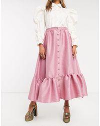 Sister Jane Button Front Midaxi Skirt With Peplum Hem - Pink