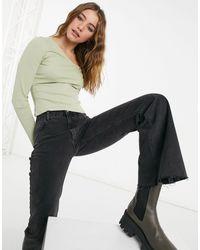 Monki Daisy Organic Cotton Ribbed Long Sleeve Asymmetric Neck Top - Green