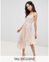 Frock and Frill Embroidered Cami Strap High Low Midi Dress With Plunge Back Detail - Purple