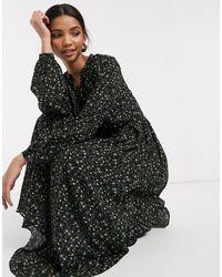 Y.A.S Midi Dress With V Neck - Black