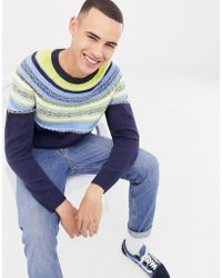 Bellfield - Sweater With Color Pop Stripe Design In Navy - Lyst