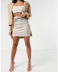 ASOS - Minifalda color piedra - Lyst