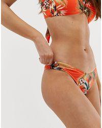Seafolly – Ocean Alley – farbene Bikinihose mit hohem Beinschnitt - Orange