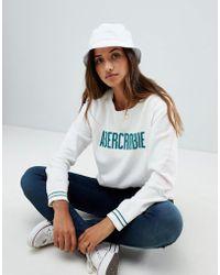 Abercrombie & Fitch Cropped Logo Sweatshirt - White