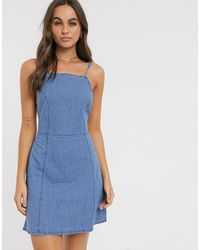 ASOS – Weiches Denim-Kleid - Blau