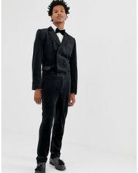 ASOS - Skinny Double Breasted Jumpsuit In Black Velvet - Lyst