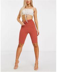 Fashionkilla Rib Bodycon Shorts - Orange