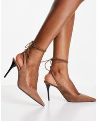 Mango Lace Up Real Suede Heeled Court Shoe - Brown