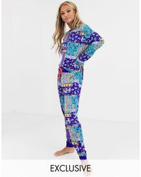 Chelsea Peers – Pyjama mit Elefantendruck - Blau