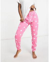New Look Пижамный Комплект С Футболкой И Джоггерами С Принтом Звезд Plus-розовый Цвет