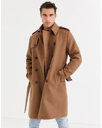 ASOS Double Breasted Trench Coat - Brown