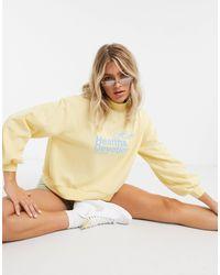 ASOS Lounge Co-ord Oversized Deep Rib Collar Sweat With Health & Devotion Slogan - Yellow