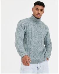 ASOS Heavyweight Cable Knit Roll Neck Sweater - Gray