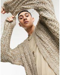 ASOS Oversized Loose Stitch Cardigan - Natural