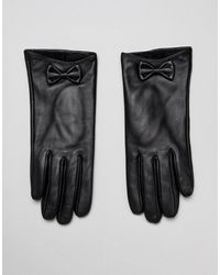 Barneys Originals Barney's Originals Real Leather Gloves With Bow Detail - Black
