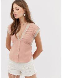 Mango V Neck Top With Lace Detail - Pink