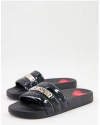 Love Moschino Черные Шлепанцы С Мягким Верхом И Логотипом -черный Цвет - Многоцветный