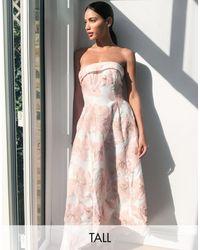 Chi Chi London Розовое Жаккардовое Платье-бандо Макси -розовый