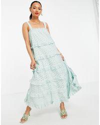 Y.A.S Светло-голубое Ярусное Платье Макси Из Органического Хлопка С Вышивкой Ришелье -зеленый Цвет