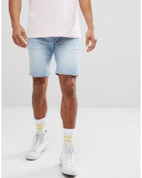 Solid - Skinny Fit Denim Short In Light Wash Blue - Lyst