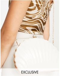 True Decadence Shell Cross Body Bag With Chain - White